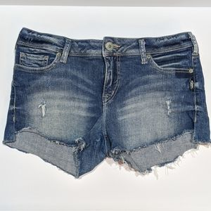 Silver Berkley Distressed Jeans Shorts